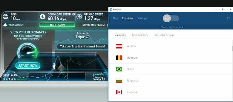 NordVPN review - Speed test