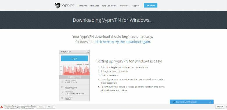 VyprVPN Review - Windows download initiating