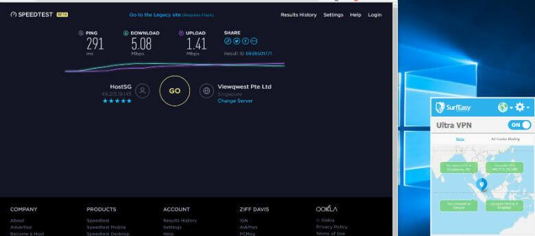 SurfEasy review -Connection speed through Singapore server