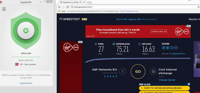 ExpressVPN review -Connection speed through smart location UK