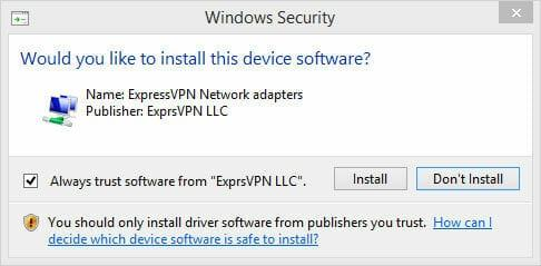 ExpressVPN Review - WIndows security prompt