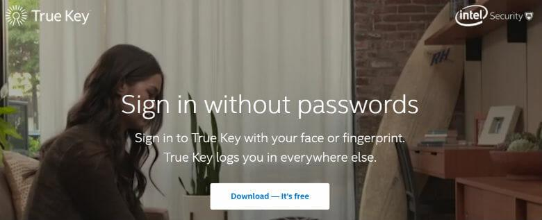 Sign up with True Key Password Manager