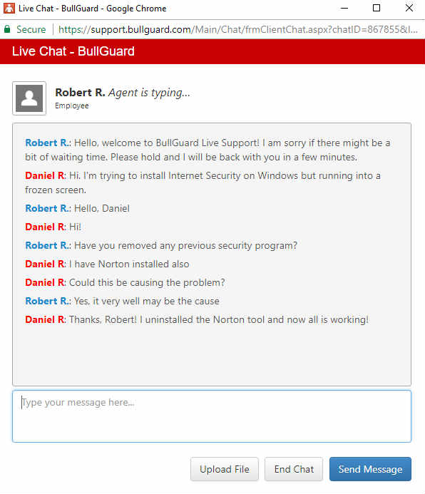 Bullguard review - Test live chat