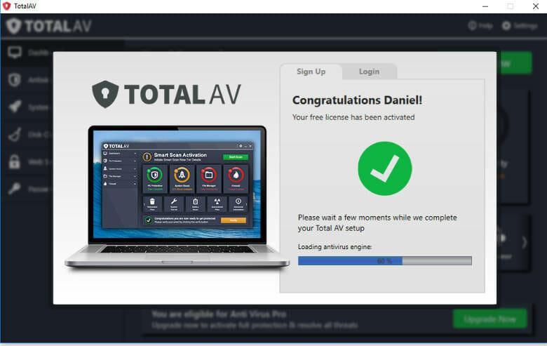 totalav review - Free version activation confirmation