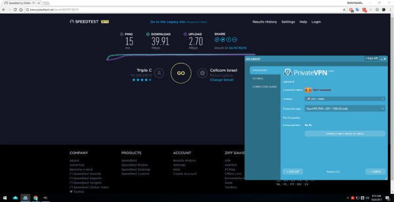 Testing connection speed before connection to Dallas server