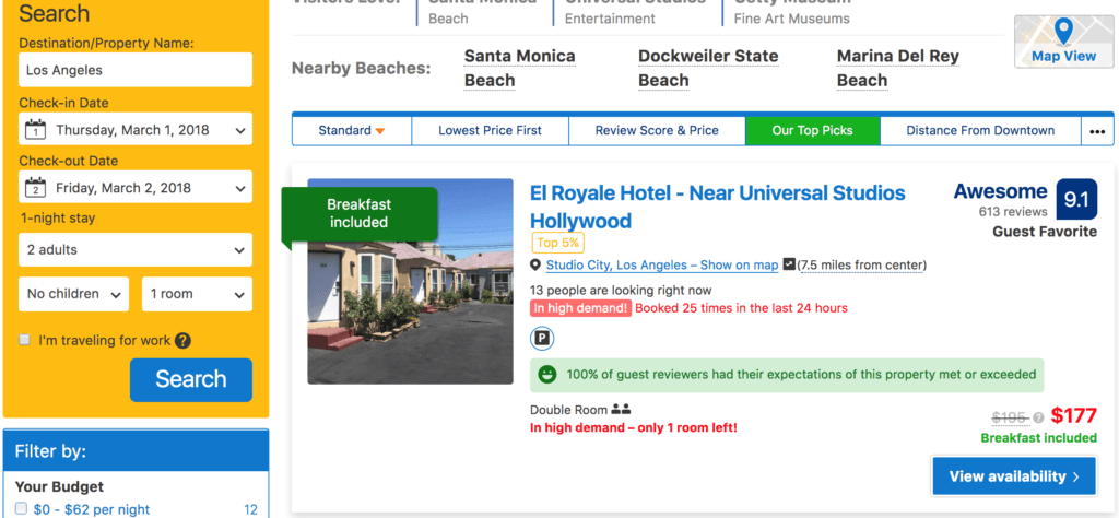 hotel booking with VPN