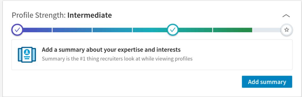 LinkedIn profile completeness meter