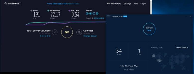 HotSpot Shield review -Connection speed through USA server