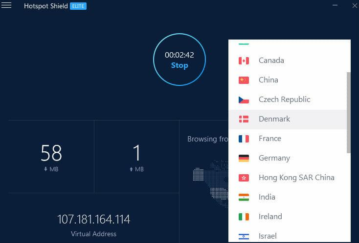 HotSpot Shield review - Selecting servers