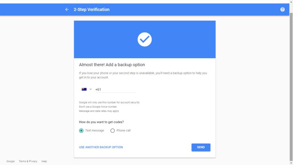 2fa gmail step 4